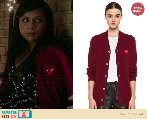 Comme des Garcons PLAY wool cardigan worn by Mindy Kaling on The Mindy Project