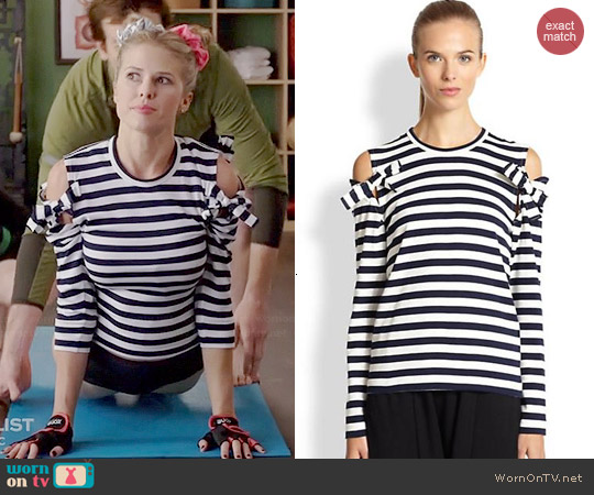 Commes des Garcon Striped Open Shoulder Top worn by Sarah Wright Olsen on Marry Me