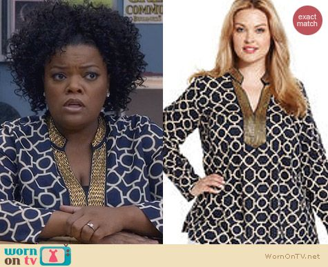 Community Fashion: Charter Club Plus Size Geometric Print Tunic worn by Yvette Nicole Brown