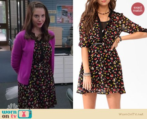Community Fashion: Forever 21 Floral print shirt dress with belt worn by Alison Brie