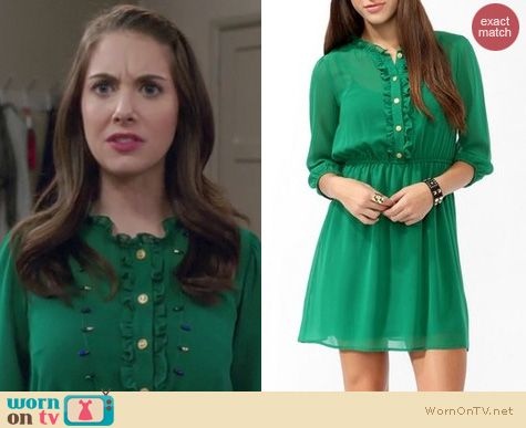 Community Fashion: Forever 21 Green Ruffled Shirtdress worn by Alison Brie