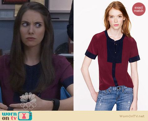 Fashion on Community: J. Crew Silk Bib Top in Colorblock worn by Alison Brie
