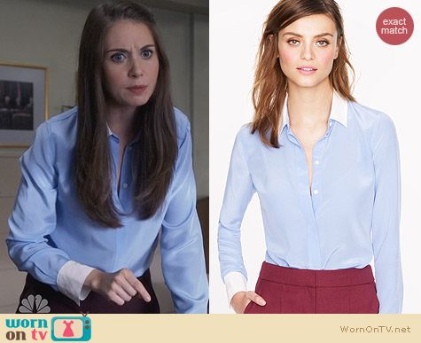 Fashion of Community: J. Crew Silk Boy Blouse with contrast trim worn by Alison Brie