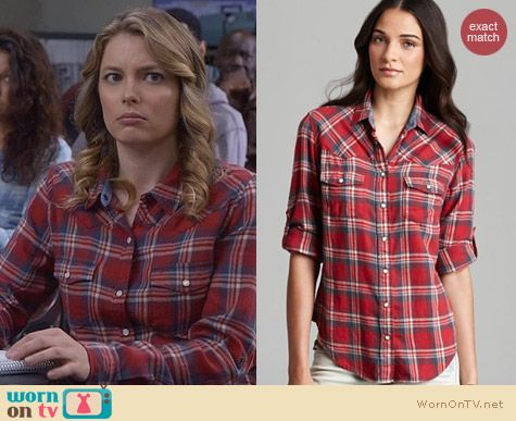Fashion of Community: JACHS Girlfriend shirt in red plaid worn by Gillian Jacobs