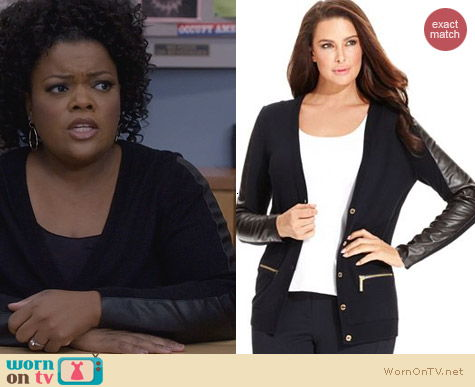 Community Fashion: Michael Kors Plus Faux Leather Cardigan worn by Yvette Nicole Brown