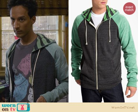 Fashion of Community: Threads for Thought Green Raglan Hoodie worn by Abed Nadir