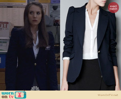 Fashion of Community: Zara blue blazer with shoulder detailing worn by Alison Brie