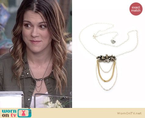 Concrete Polish Silver Quartz Necklace worn by Lindsey Shaw on PLL