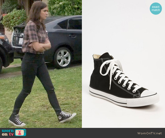 Converse Chuck Taylor® High Top Sneaker in Black worn by Callie Jacob on The Fosters