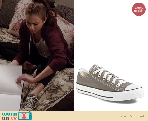 Converse Chuck Taylor Low Sneaker in Charcoal worn by Troian Bellisario on PLL