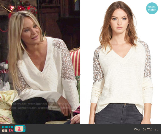 Cooper & Ella Lace Inset V-neck Sweater worn by Sharon Case on The Young & the Restless