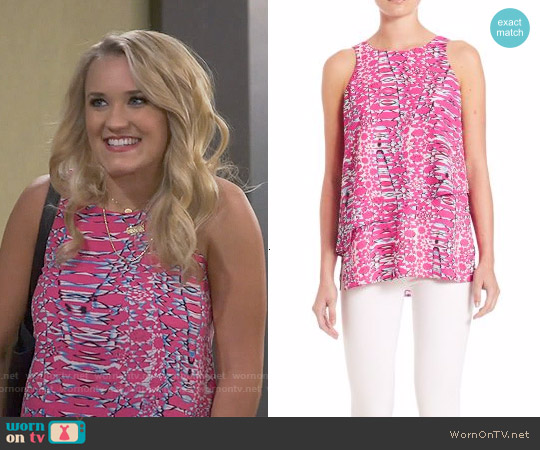 Cooper & Ella Reagan Cascade Top in Pink Sunrise worn by Emily Osment on Young & Hungry
