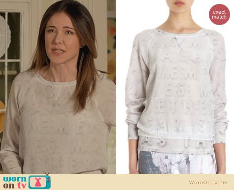 Cougar Town Fashion: Each x Other Letter Print Silk Sweatshirt worn by Christa Miller