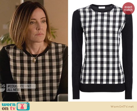 Fashion of Cougar Town: Equipment Monochrome Check Roland Jumper worn by Christa Miller