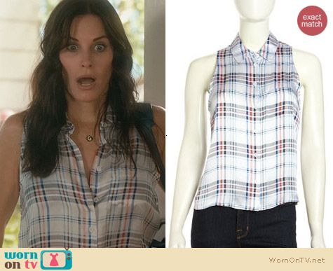Cougar Town Fashion: Equipment Mina Shirt in Plaid worn by Courtney Cox