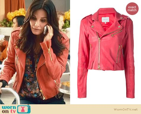 Fashion of Cougar Town: Pierre Balmain Cropped Biker Jacket worn by Courtney Cox