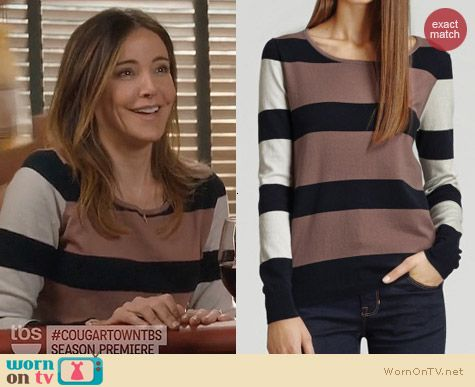 Fashion of Cougar Town: Reiss Cloudly Mixed Stripe Sweater worn by Christa Miller