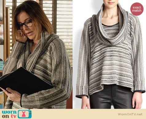 Cougar Town Fashion: Yigal Azrouel Boucle Cowl Neck Sweater worn by Christa Miller