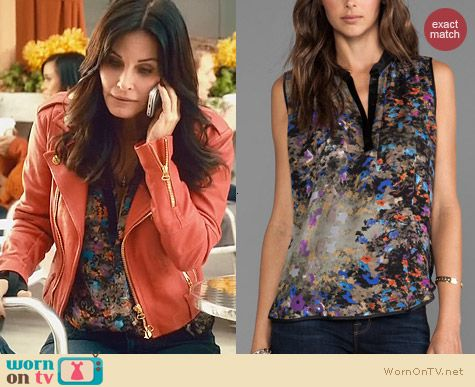 Cougar Town Fashion: Parker Tess top in Enchanted worn by Courtney Cox