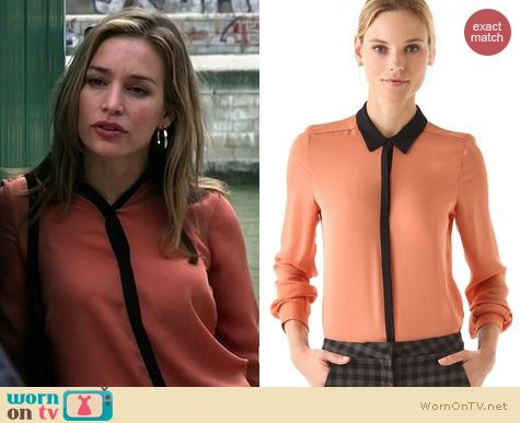 Covert Affairs Fashion: A.L.C. Gillian Blouse in salmon worn by Piper Perabo