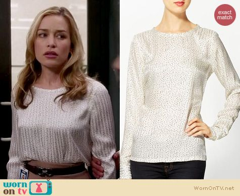 Covert Affairs Fashion: Equipment Liam speckle print blouse worn by Piper Perabo