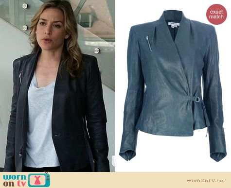 Covert Affairs Fashion: Helmut Lang Belted Leather jacket worn by Piper Perabo