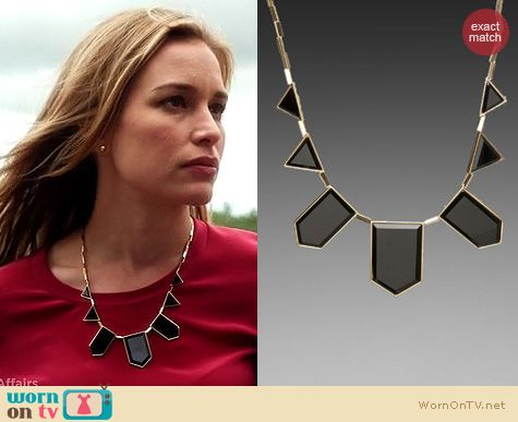 Covert Affairs Fashion: House of Harlow Black Resin Necklace worn by Piper Perabo