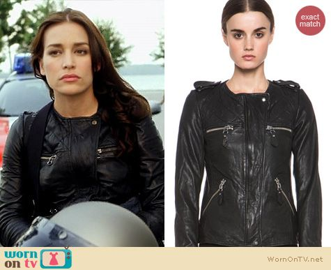 Covert Affairs Fashion: Isabel Marant Kady leather jacket worn by Piper Perabo