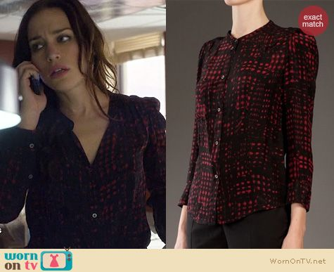 Covert Affairs Fashion: Isabel Marant Red and Black Silk Blouse worn by Piper Perabo