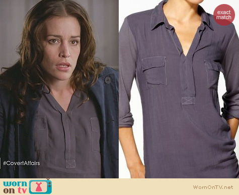 Covert Affairs Fashion: Splendid Shirting Henley in purple worn by Piper Perabo