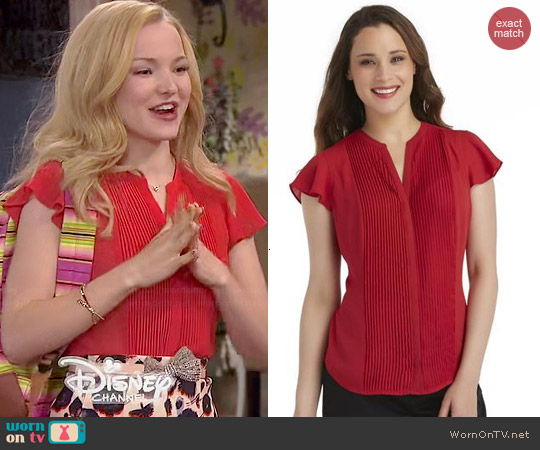 Covington Pleated Blouse worn by Dove Cameron on Liv & Maddie