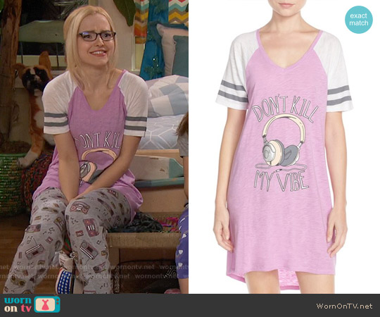 Cozy Zoe 'Don't Kill My Vibe' Nightshirt worn by Dove Cameron on Liv & Maddie