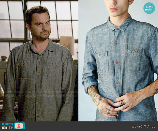 CPO 'Emile' Herringbone Button Down Shirt worn by Jake Johnson on New Girl