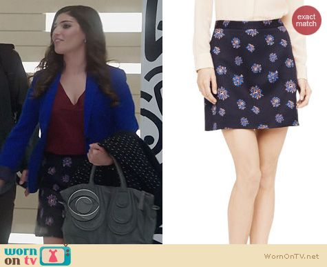 The Crazy Ones Clothes: Club Monaco Camissa Floral Jacquard Skirt worn by Amanda Setton