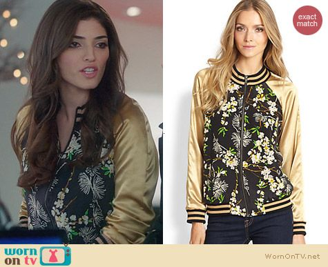 The Crazy Ones Fashion: Patterson J Kincaid Kerra Varsity Jacket worn by Amanda Setton