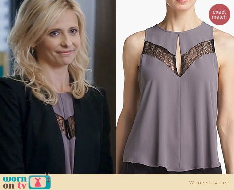 The Crazy Ones Fashion: ASTR Lace Inset Blouse worn by Sarah Michelle Gellar