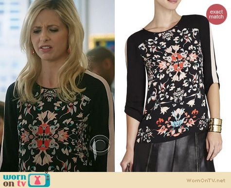 The Crazy Ones Fashion: BCBGMAXAZRIA Andie Blouse worn by Sarah Michelle Gellar