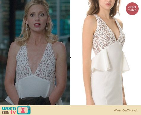 The Crazy Ones Fashion: Bless'ed Are The Meek White The Light Peplum Dress worn by Sarah Michelle Gellar
