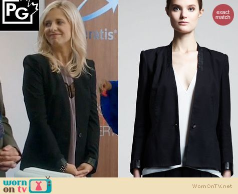 The Crazy Ones Style: Helmut Lang Cove Leather Trim Blazer worn by Sarah Michelle Gellar