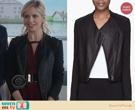The Crazy Ones Fashion: Helmut Lang Washed Leather and Jersey Jacket worn by Sarah Michelle Gellar