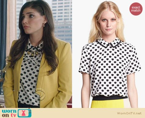 The Crazy Ones Fashion: Kate Spade Sierra Top in New York Apple worn by Amanda Setton