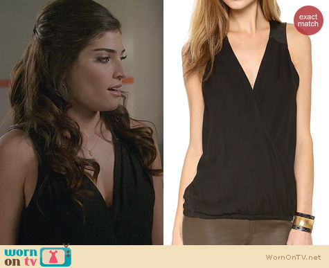 The Crazy Ones Fashion: Ramy Brook April Draped Front Blouse worn by Amanda Setton