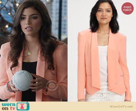 The Crazy Ones Fashion: Rebecca Minkoff Becky Jacket in Hibiscus worn by Amanda Setton