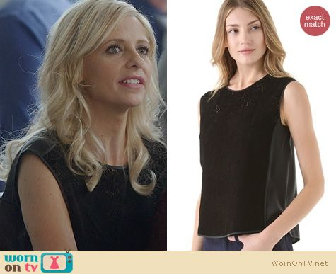 The Crazy Ones Fashion: Rebecca Taylor Leather Perforated Top worn by Sarah Michelle Gellar