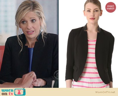 The Crazy Ones Fashion: Rebecca Taylor Leather Trim Blazer worn by Sarah Michelle Gellar