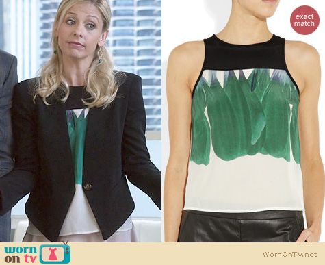 The Crazy Ones Fashion: Tibi Hudson Green top worn by Sarah Michelle Gellar