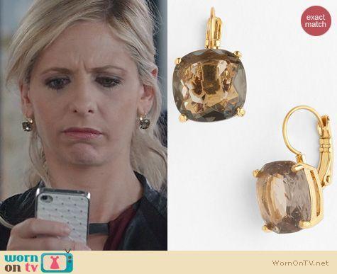 The Crazy Ones Jewelry: Kate Spade Crystal Drop Earrings worn by Sarah Michelle Gellar