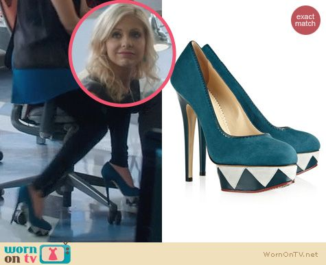 The Crazy Ones Shoes: Charlotte Olympia Kaleidoscope Leather Trimmed Suede Heel worn by Sarah Michelle Gellar