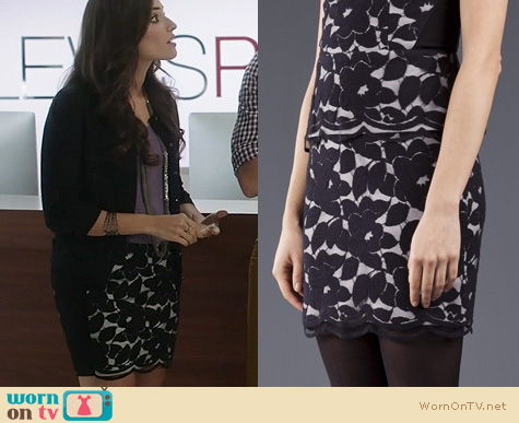 The Crazy Ones Style: Mason by Michelle Mason Floral Overlay Skirt worn by Amanda Setton