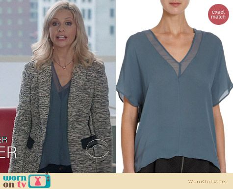 The Crazy Ones Style: Mason by Michelle Mason Sheer Panel Blouse in Slate blue worn by Sarah Michelle Gellar
